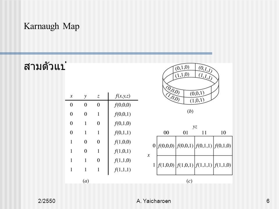 2/2550A. Yaicharoen6 สามตัวแปร Karnaugh Map