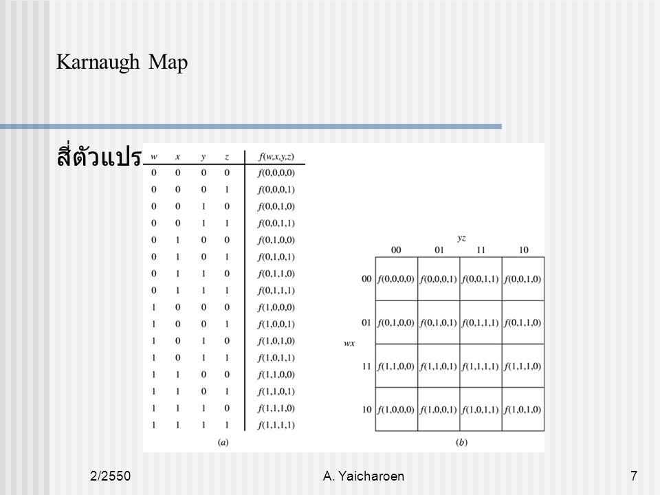 2/2550A. Yaicharoen7 Karnaugh Map สี่ตัวแปร