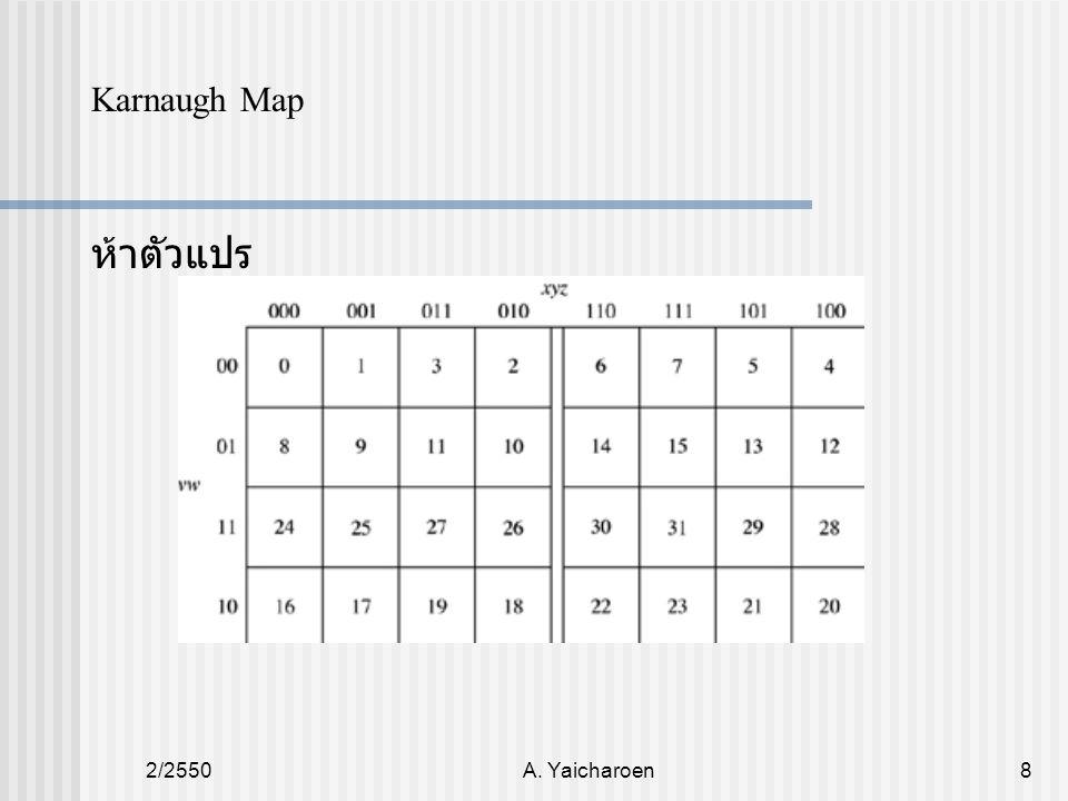 2/2550A.Yaicharoen9 Karnaugh Map หลักการลดรูปโดยใช้ Karnaugh Map 1.