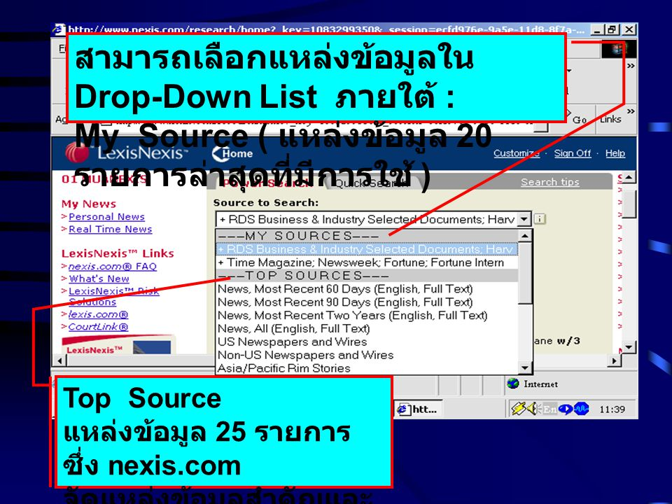 Top Source แหล่งข้อมูล 25 รายการ ซึ่ง nexis.com จัดแหล่งข้อมูลสำคัญและ มีผู้นิยมใช้มาก สามารถเลือกแหล่งข้อมูลใน Drop-Down List ภายใต้ : My Source ( แห