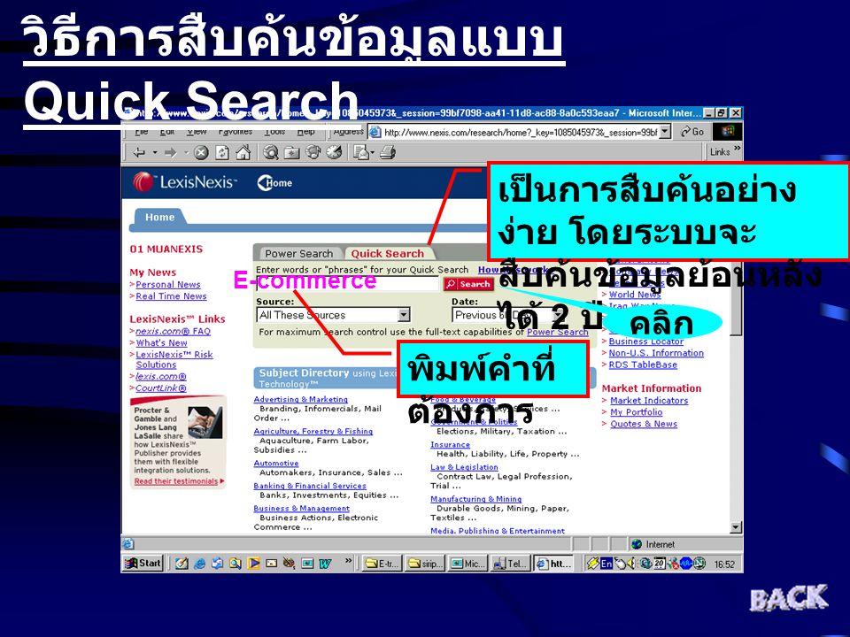 วิธีการสืบค้นข้อมูลแบบ Quick Search เป็นการสืบค้นอย่าง ง่าย โดยระบบจะ สืบค้นข้อมูลย้อนหลัง ได้ 2 ปี พิมพ์คำที่ ต้องการ E-commerce คลิก