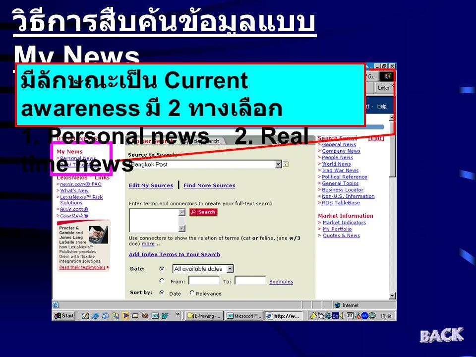 วิธีการสืบค้นข้อมูลแบบ My News มีลักษณะเป็น Current awareness มี 2 ทางเลือก 1. Personal news 2. Real time news