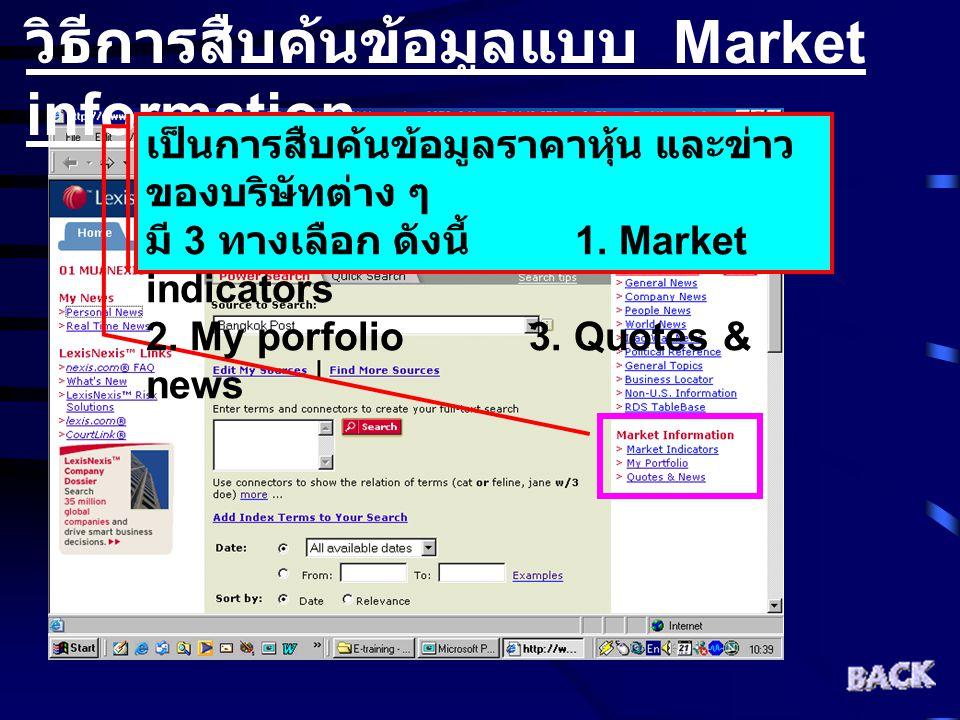 วิธีการสืบค้นข้อมูลแบบ Market information เป็นการสืบค้นข้อมูลราคาหุ้น และข่าว ของบริษัทต่าง ๆ มี 3 ทางเลือก ดังนี้ 1. Market indicators 2. My porfolio