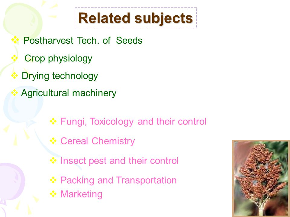  Postharvest Tech. of Seeds  Crop physiology  Drying technology  Agricultural machinery Related subjects  Fungi, Toxicology and their control  C