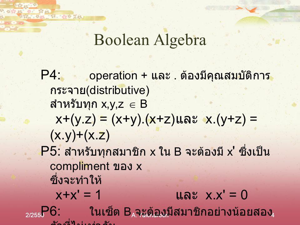 2/2550A.Yaicharoen15 Boolean Expression Manipulation 1.
