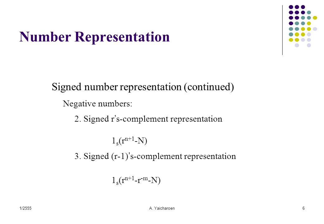 1/2555A. Yaicharoen6 Number Representation Signed number representation (continued) Negative numbers: 2. Signed r's-complement representation 1 s (r n