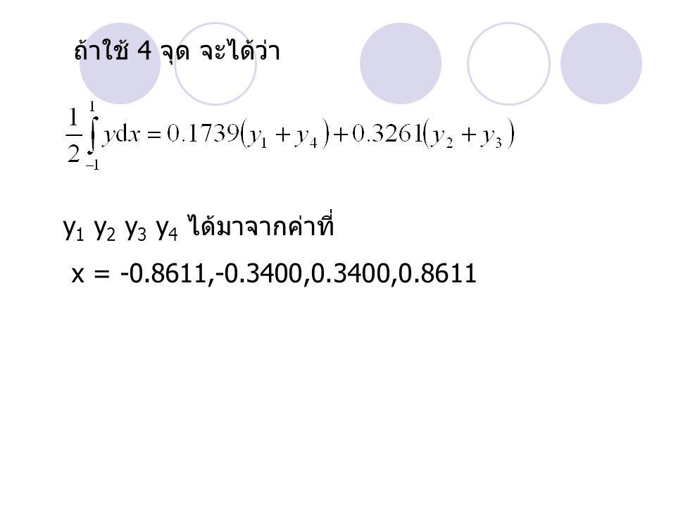 ถ้าใช้ 4 จุด จะได้ว่า y 1 y 2 y 3 y 4 ได้มาจากค่าที่ x = -0.8611,-0.3400,0.3400,0.8611
