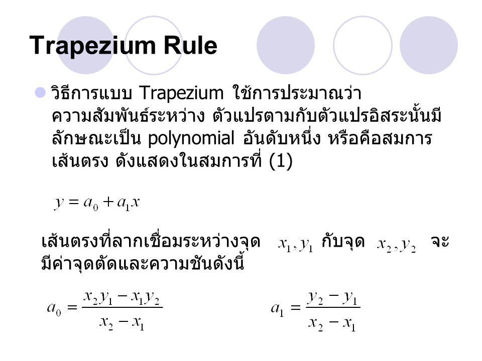 Trapezium Rule วิธีการแบบ Trapezium ใช้การประมาณว่า ความสัมพันธ์ระหว่าง ตัวแปรตามกับตัวแปรอิสระนั้นมี ลักษณะเป็น polynomial อันดับหนึ่ง หรือคือสมการ เ