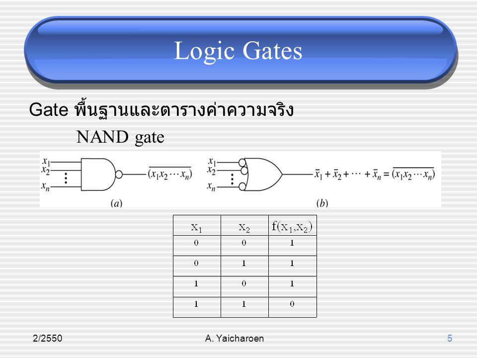2/2550A. Yaicharoen5 Logic Gates Gate พื้นฐานและตารางค่าความจริง NAND gate