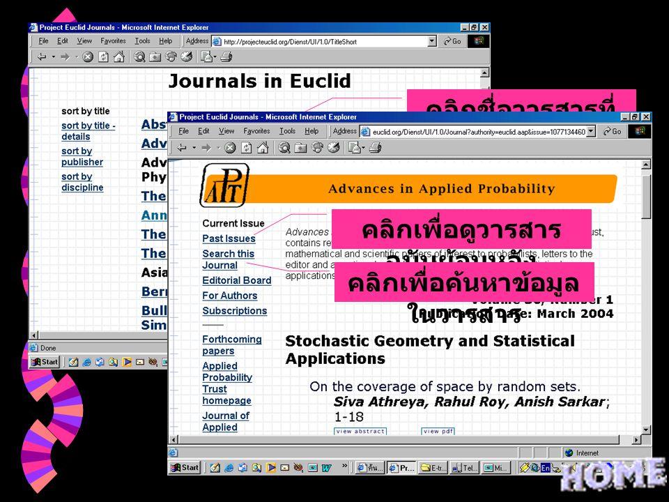 คลิกชื่อวารสารที่ ต้องหาร คลิกเพื่อดูวารสาร ฉบับย้อนหลัง คลิกเพื่อค้นหาข้อมูล ในวารสาร