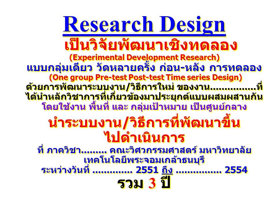 Research Design เป็นวิจัยพัฒนาเชิงทดลอง (Experimental Development Research) แบบกลุ่มเดียว วัดหลายครั้ง ก่อน-หลัง การทดลอง (One group Pre-test Post-tes