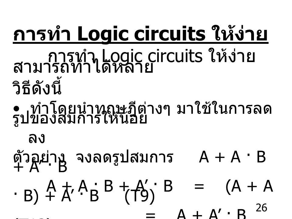 26 การทำ Logic circuits ให้ง่าย การทำ Logic circuits ให้ง่าย สามารถทำได้หลาย วิธีดังนี้ ทำโดยนำทฤษฎีต่างๆ มาใช้ในการลด รูปของสมการให้น้อย ลง ตัวอย่าง จงลดรูปสมการ A + A · B + A' · B A + A · B + A' · B = (A + A · B) + A' · B (T9) = A + A' · B (T13) = A + B