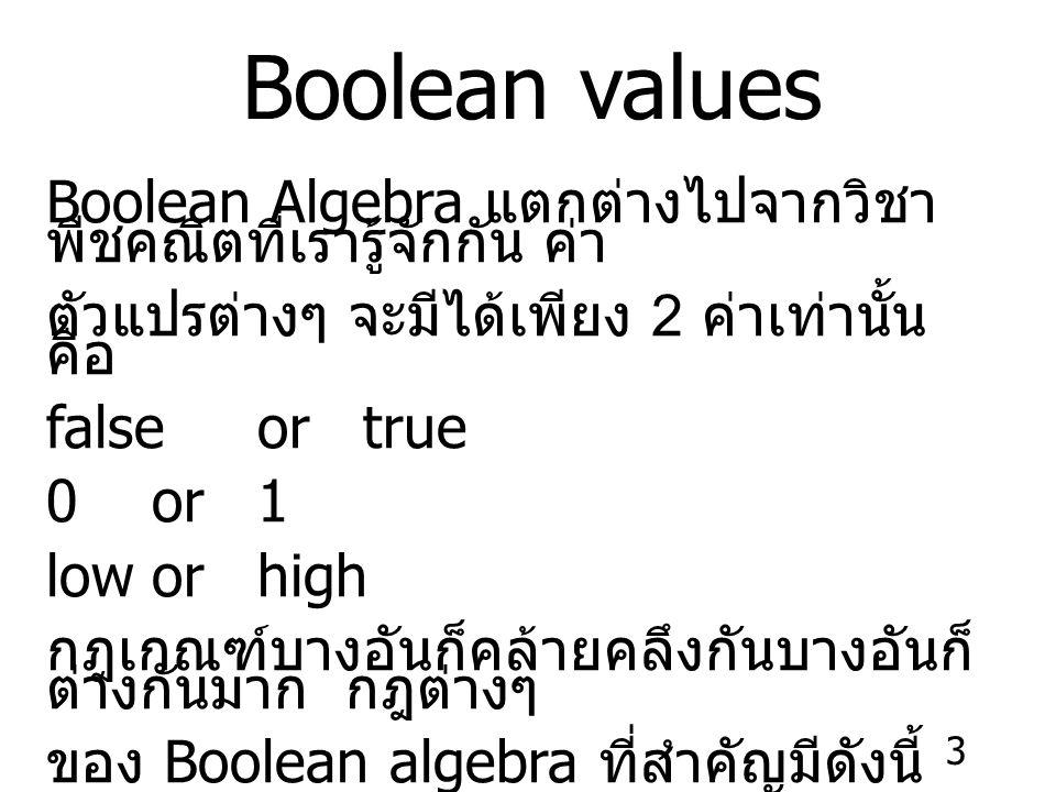 3 Boolean values Boolean Algebra แตกต่างไปจากวิชา พีชคณิตที่เรารู้จักกัน ค่า ตัวแปรต่างๆ จะมีได้เพียง 2 ค่าเท่านั้น คือ false ortrue 0or1 loworhigh กฎเกณฑ์บางอันก็คล้ายคลึงกันบางอันก็ ต่างกันมาก กฎต่างๆ ของ Boolean algebra ที่สำคัญมีดังนี้
