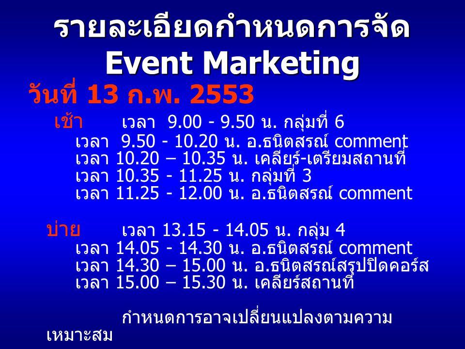 รายละเอียดกำหนดการจัด Event Marketing วันที่ 13 ก. พ. 2553 เช้า เวลา 9.00 - 9.50 น. กลุ่มที่ 6 เวลา 9.50 - 10.20 น. อ. ธนิตสรณ์ comment เวลา 10.20 – 1