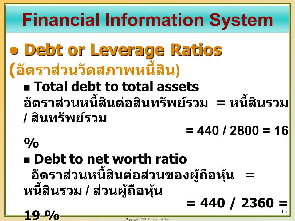 Copyright © 2003 Prentice-Hall, Inc. 15 Debt or Leverage Ratios Debt or Leverage Ratios ( อัตราส่วนวัดสภาพหนี้สิน ) Total debt to total assets อัตราส่