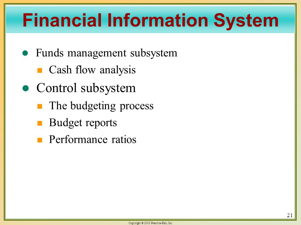 Copyright © 2003 Prentice-Hall, Inc. 21 Funds management subsystem Funds management subsystem Cash flow analysis Cash flow analysis Control subsystem