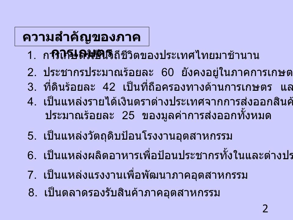 2 ความสำคัญของภาค การเกษตร 1.การเกษตรเป็นวิถีชีวิตของประเทศไทยมาช้านาน 2.