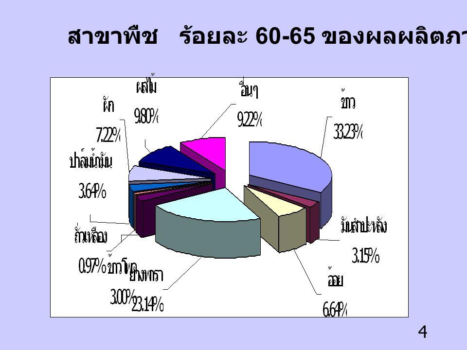 4 สาขาพืช ร้อยละ 60-65 ของผลผลิตภาคการเกษตร