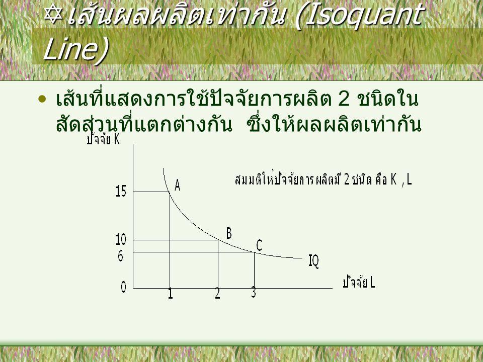  เส้นผลผลิตเท่ากัน (Isoquant Line) เส้นที่แสดงการใช้ปัจจัยการผลิต 2 ชนิดใน สัดส่วนที่แตกต่างกัน ซึ่งให้ผลผลิตเท่ากัน