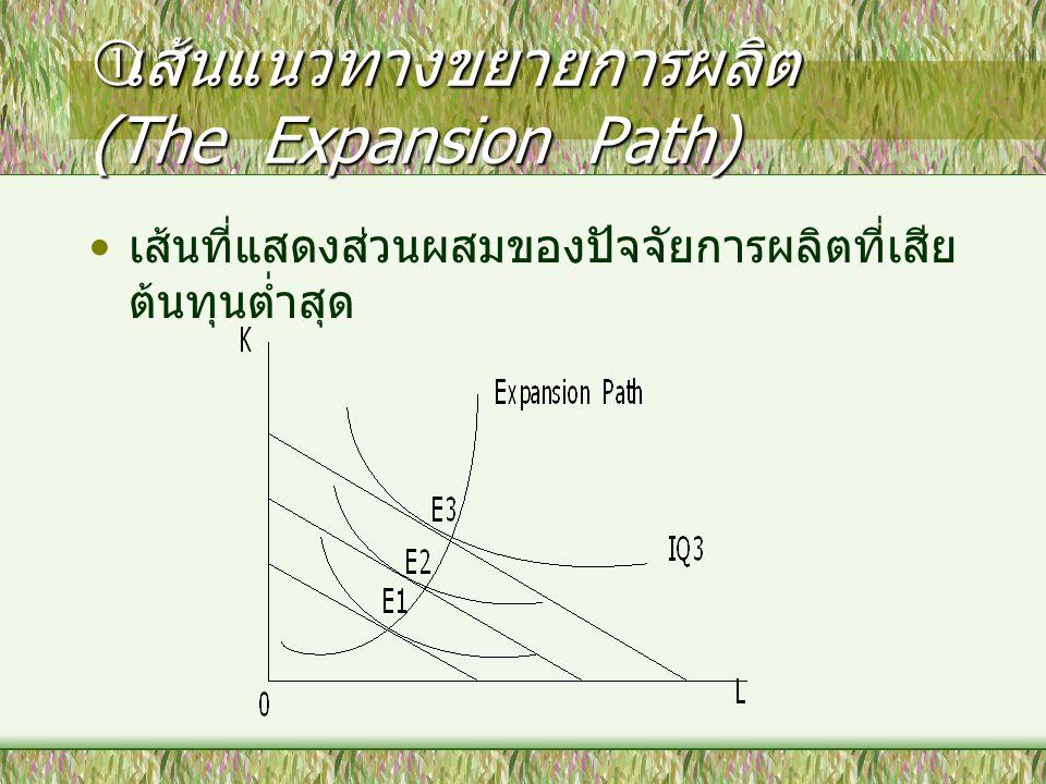  เส้นแนวทางขยายการผลิต (The Expansion Path) เส้นที่แสดงส่วนผสมของปัจจัยการผลิตที่เสีย ต้นทุนต่ำสุด