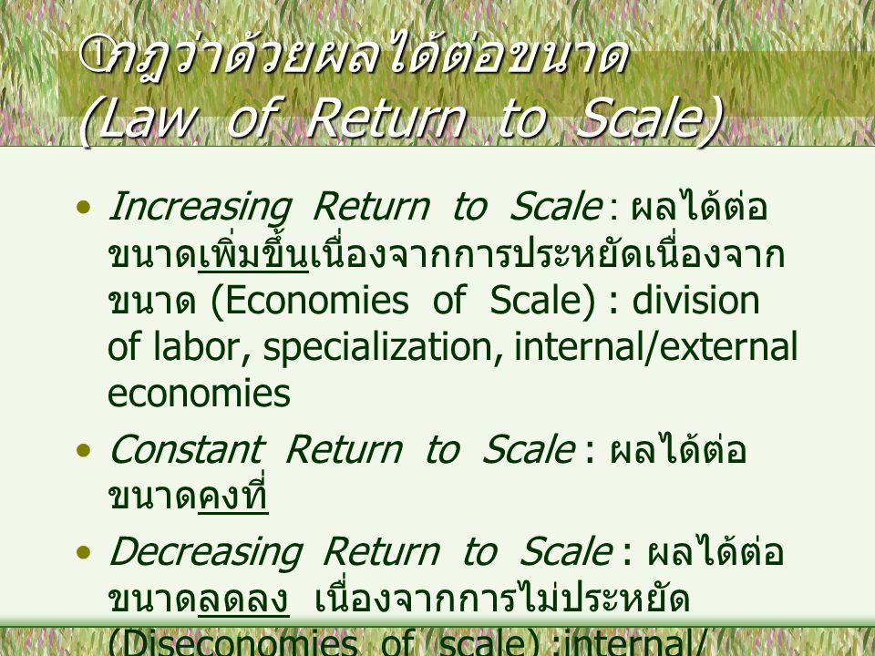  กฎว่าด้วยผลได้ต่อขนาด (Law of Return to Scale) Increasing Return to Scale : ผลได้ต่อ ขนาดเพิ่มขึ้นเนื่องจากการประหยัดเนื่องจาก ขนาด (Economies of Sc