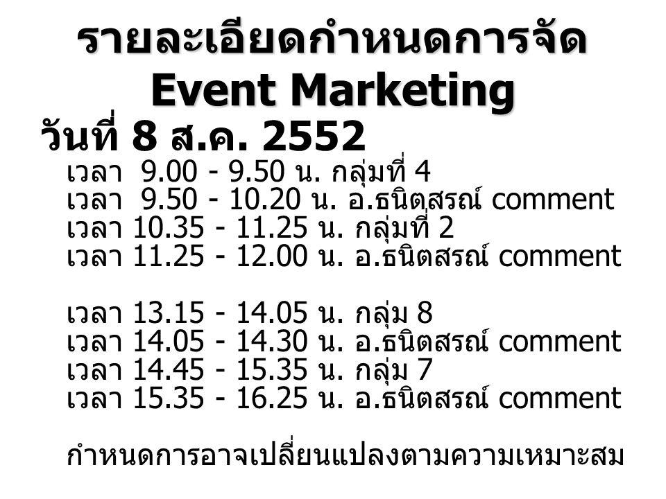 รายละเอียดกำหนดการจัด Event Marketing วันที่ 8 ส. ค. 2552 เวลา 9.00 - 9.50 น. กลุ่มที่ 4 เวลา 9.50 - 10.20 น. อ. ธนิตสรณ์ comment เวลา 10.35 - 11.25 น