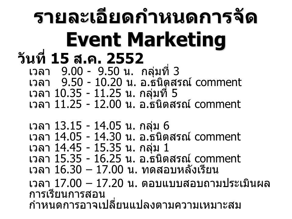 รายละเอียดกำหนดการจัด Event Marketing วันที่ 15 ส. ค. 2552 เวลา 9.00 - 9.50 น. กลุ่มที่ 3 เวลา 9.50 - 10.20 น. อ. ธนิตสรณ์ comment เวลา 10.35 - 11.25