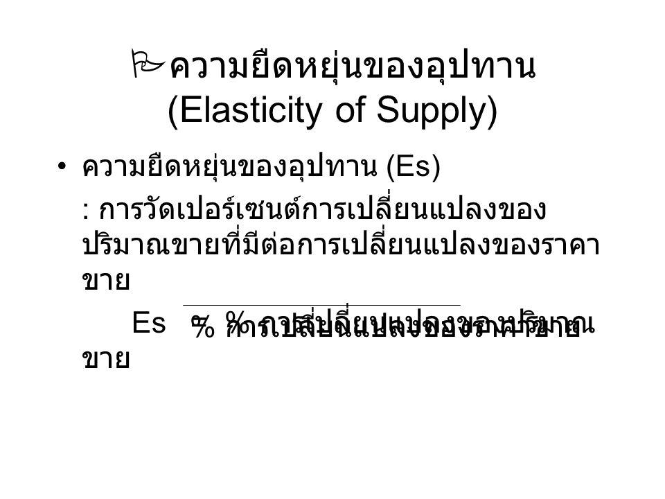  ความยืดหยุ่นของอุปทาน (Elasticity of Supply) ความยืดหยุ่นของอุปทาน (Es) : การวัดเปอร์เซนต์การเปลี่ยนแปลงของ ปริมาณขายที่มีต่อการเปลี่ยนแปลงของราคา ข