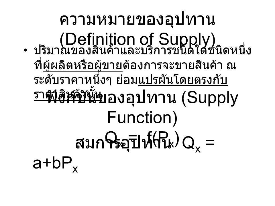 ความหมายของอุปทาน (Definition of Supply) ปริมาณของสินค้าและบริการชนิดใดชนิดหนึ่ง ที่ผู้ผลิตหรือผู้ขายต้องการจะขายสินค้า ณ ระดับราคาหนึ่งๆ ย่อมแปรผันโด