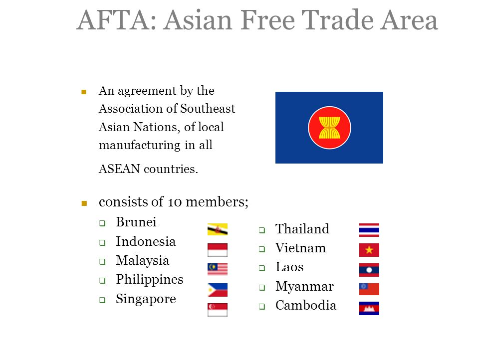 AFTA: Asian Free Trade Area An agreement by the Association of Southeast Asian Nations, of local manufacturing in all ASEAN countries.