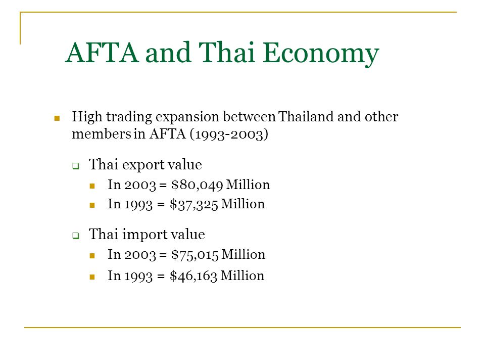 High trading expansion between Thailand and other members in AFTA (1993-2003)  Thai export value In 2003 = $80,049 Million In 1993 = $37,325 Million