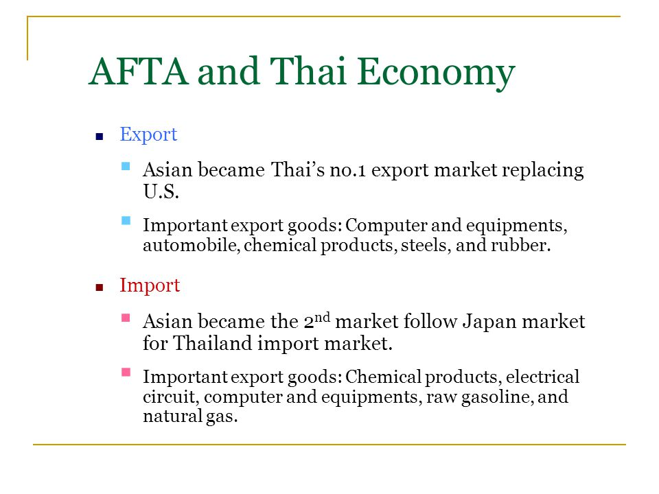 Export  Asian became Thai's no.1 export market replacing U.S.