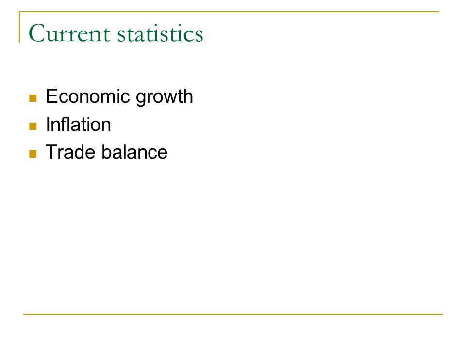 Current statistics Economic growth Inflation Trade balance