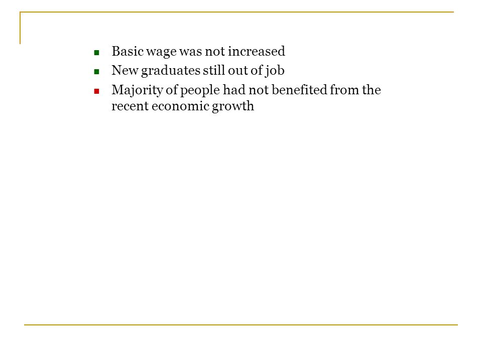 Basic wage was not increased New graduates still out of job Majority of people had not benefited from the recent economic growth
