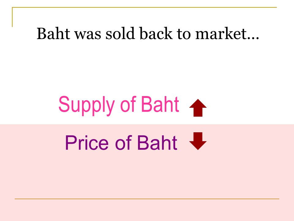   Baht was sold back to market…