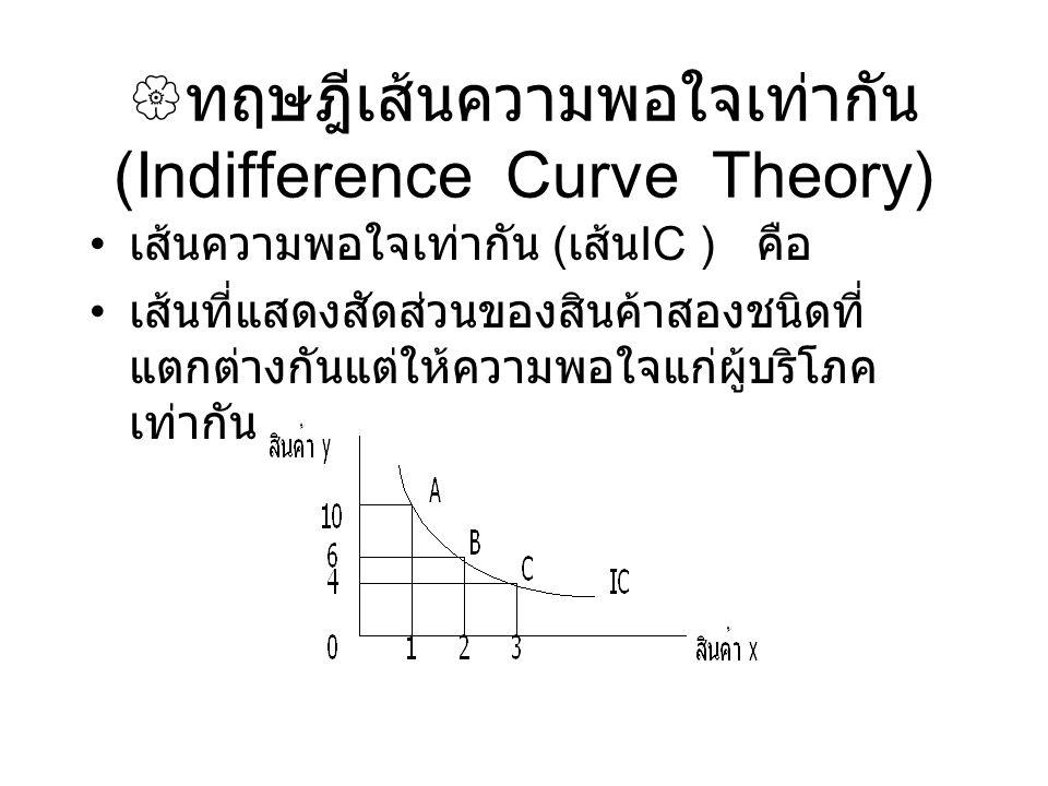  ทฤษฎีเส้นความพอใจเท่ากัน (Indifference Curve Theory) เส้นความพอใจเท่ากัน ( เส้น IC ) คือ เส้นที่แสดงสัดส่วนของสินค้าสองชนิดที่ แตกต่างกันแต่ให้ความพ