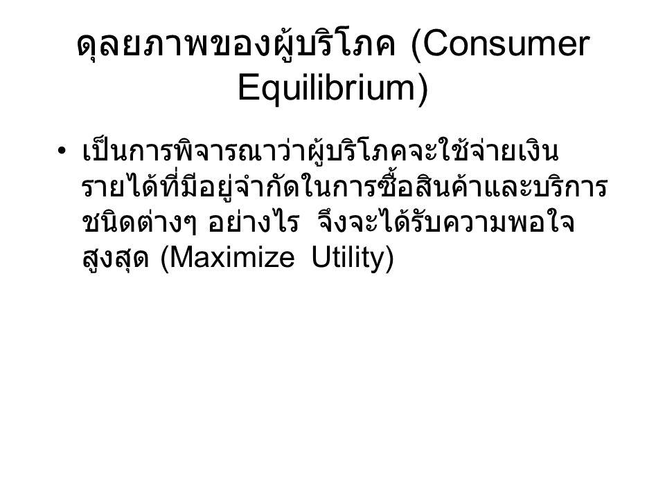  ดุลยภาพผู้บริโภค กรณีที่ผู้บริโภคมีรายได้ไม่จำกัด และสินค้า ทุกชนิดมีราคาเท่ากัน max TU เมื่อ MUa = MUb = ………= 0 กรณีที่ผู้บริโภคมีรายได้จำกัดและสินค้าทุก ชนิดราคาเท่ากัน max TU เมื่อ MUa = MUb = ……… = MUn = k กรณีที่ผู้บริโภคมีรายได้จำกัดและสินค้าทุก ชนิดราคาไม่เท่ากัน max TU เมื่อ MUa/Pa = MUb/Pb = ……… = MUn / Pn = k