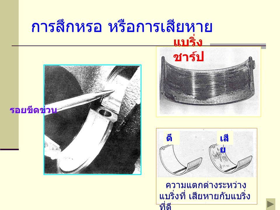 เช็ดน้ำมันจากแบริ่งเพลาข้อเหวี่ยง ให้หมด ตัดพลาสติกเกจ ให้มี ความยาวเท่าๆกับความ กว้างของแบริ่ง