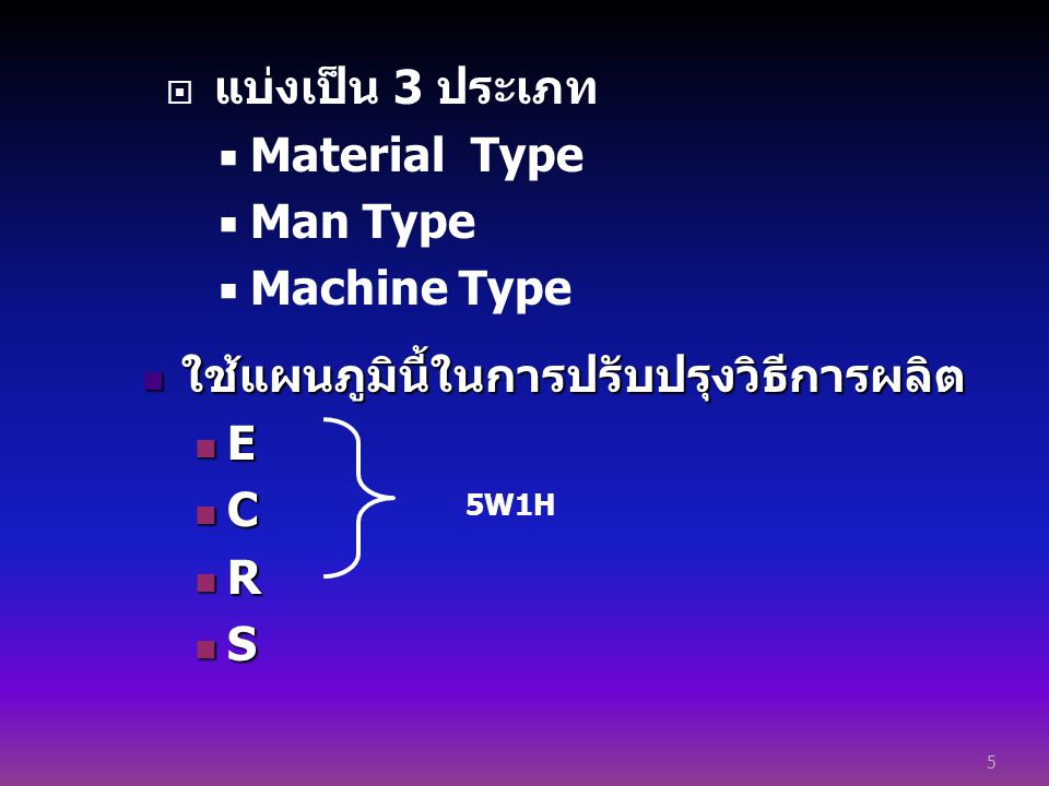  แบ่งเป็น 3 ประเภท  Material Type  Man Type  Machine Type 5 ใช้แผนภูมินี้ในการปรับปรุงวิธีการผลิต ใช้แผนภูมินี้ในการปรับปรุงวิธีการผลิต E C R S 5W