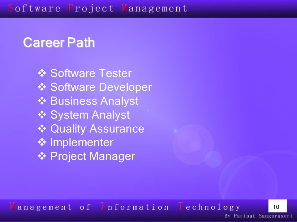 10 Career Path  Software Tester  Software Developer  Business Analyst  System Analyst  Quality Assurance  Implementer  Project Manager