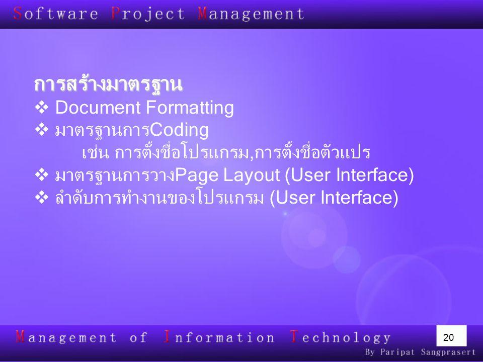 20 การสร้างมาตรฐาน  Document Formatting  มาตรฐานการCoding เช่น การตั้งชื่อโปรแกรม,การตั้งชื่อตัวแปร  มาตรฐานการวางPage Layout (User Interface)  ลำ