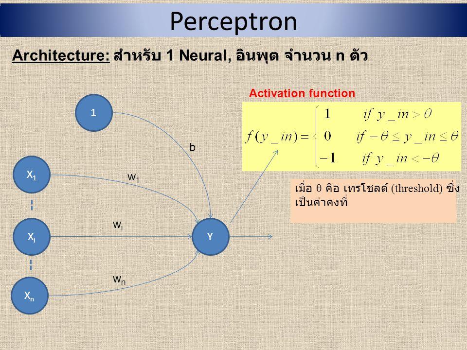 Perceptron (Cont.) Algorithm: สามารถใช้ได้กับทั้ง -Input แบบ binary (0,1) และ bipolar (1, -1) -Output แบบ bipolar (1, -1) Step0: - กำหนดค่าเริ่มต้นให้กับ weight, w 1, w 2, …, w i,…, w n และ bias, b ( เพื่อความง่ายเรามักกำหนด w = 0 และ b = 0) - กำหนด learning rate ( อัตราการเรียนรู้ ), α ( ) ( เพื่อความง่ายเรามักกำหนด α = 1) - กำหนดเทรโชลด์ เป็นค่าคงที่ที่ไม่เป็นค่า ลบ