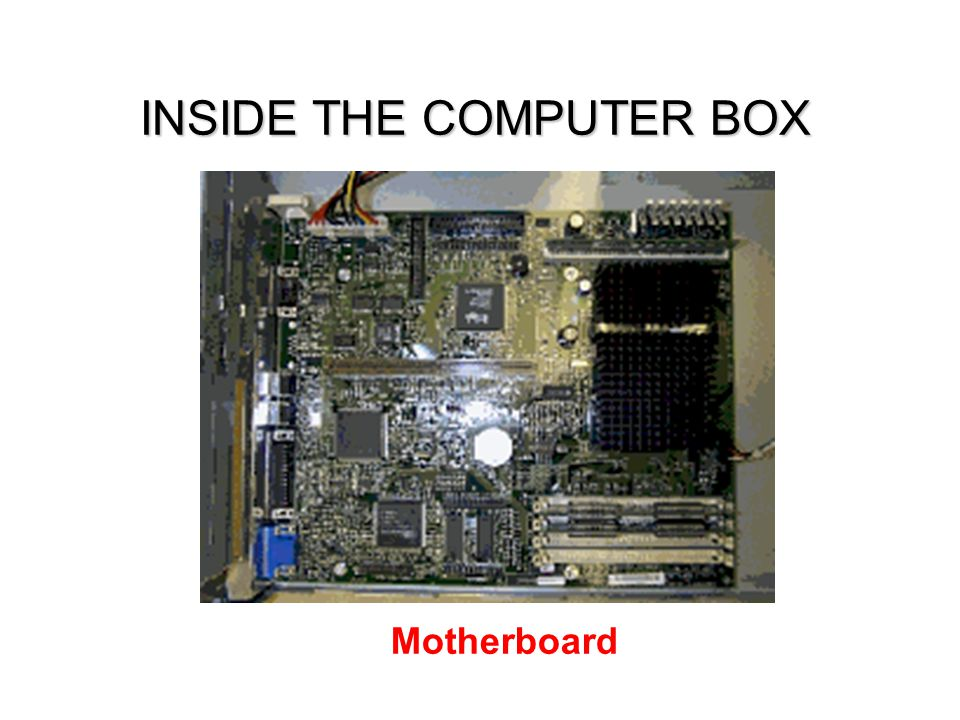 INSIDE THE COMPUTER BOX Motherboard
