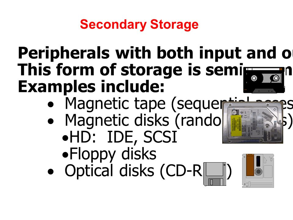 Secondary Storage Peripherals with both input and output functions.