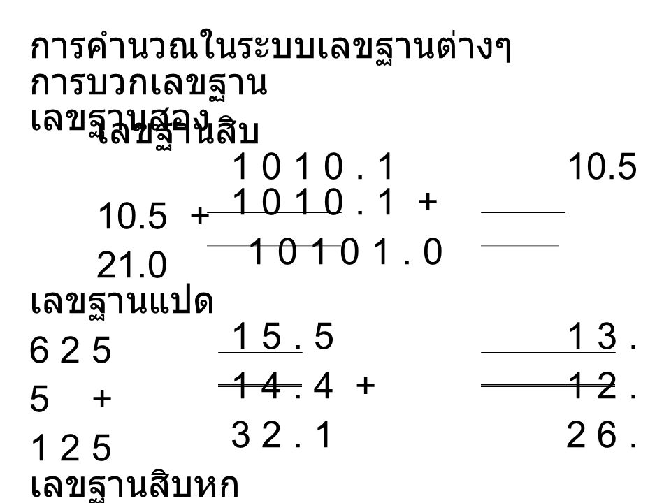 การคำนวณในระบบเลขฐานต่างๆ การบวกเลขฐาน เลขฐานสอง เลขฐานสิบ 1 0 1 0.