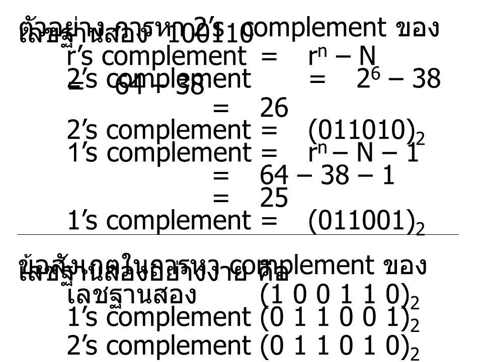 ตัวอย่าง การหา 2's complement ของ เลขฐานสอง 100110 r's complement= r n – N 2's complement = 2 6 – 38 =64 – 38 = 26 2's complement= (011010) 2 1's complement=r n – N – 1 = 64 – 38 – 1 = 25 1's complement= (011001) 2 ข้อสังเกตในการหา complement ของ เลขฐานสองอย่างง่าย คือ เลชฐานสอง (1 0 0 1 1 0) 2 1's complement(0 1 1 0 0 1) 2 2's complement(0 1 1 0 1 0) 2