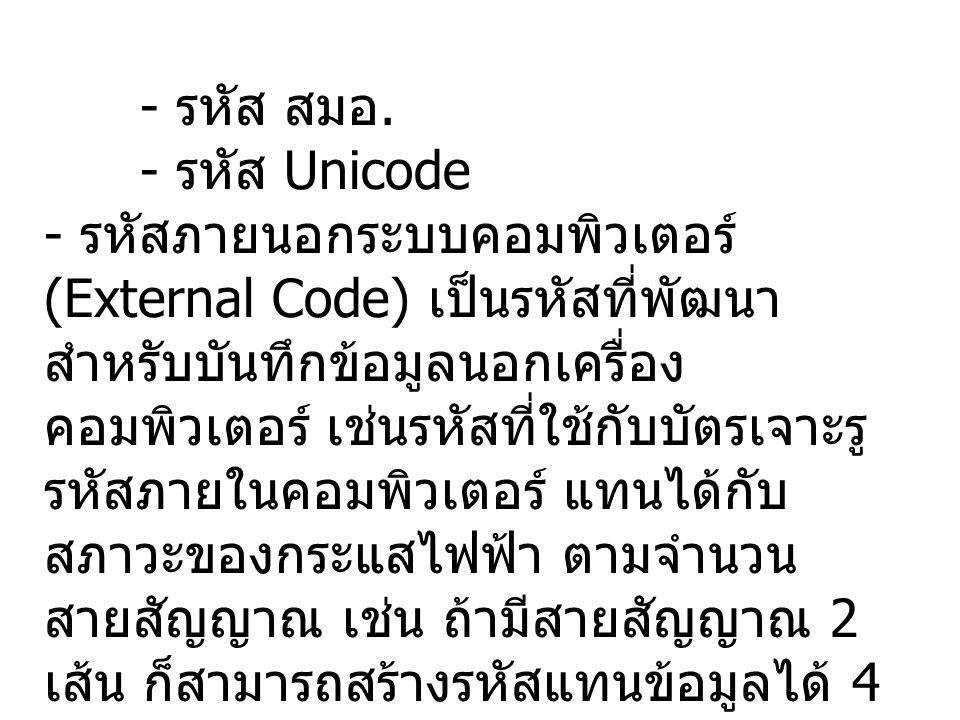 - รหัส สมอ.