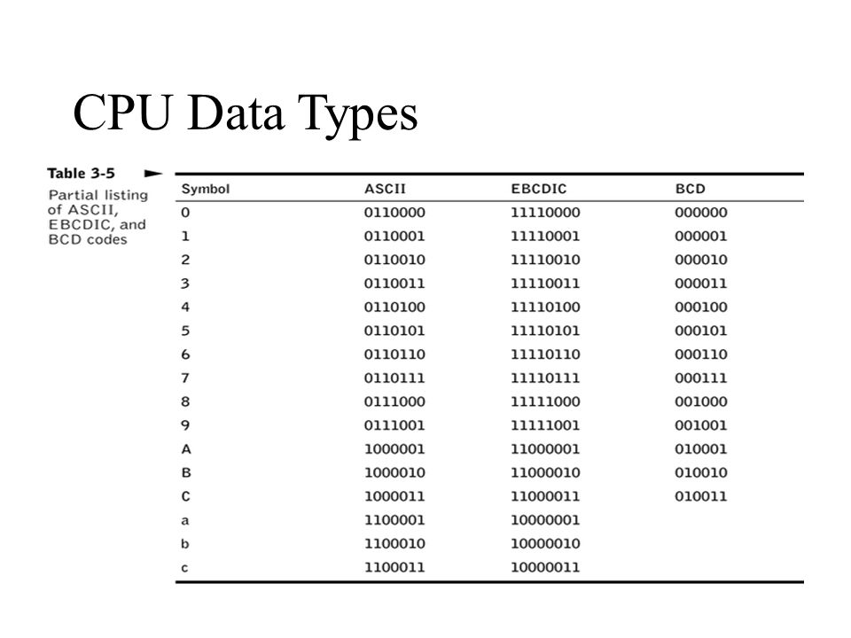 CPU Data Types