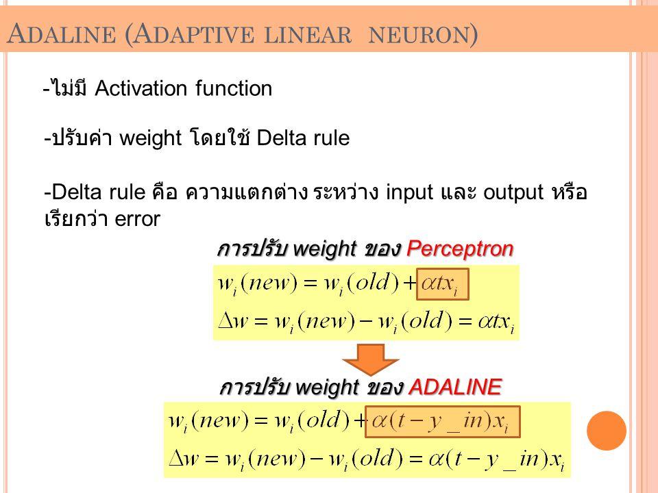 A DALINE (A DAPTIVE LINEAR NEURON ) - ไม่มี Activation function -ป-ปรับค่า weight โดยใช้ Delta rule -D-Delta rule คือ ความแตกต่าง ระหว่าง input และ ou