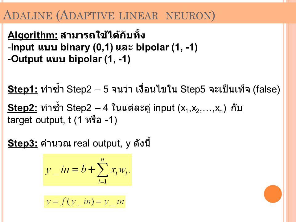 Algorithm: สามารถใช้ได้กับทั้ง -Input แบบ binary (0,1) และ bipolar (1, -1) -Output แบบ bipolar (1, -1) Step1: ทำซ้ำ Step2 – 5 จนว่า เงื่อนไขใน Step5 จ